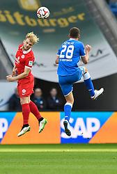 28.02.2015, Rhein Neckar Arena, Sinsheim, GER, 1. FBL, TSG 1899 Hoffenheim vs 1. FSV Mainz 05, 23. Runde, im Bild Kopfballduell Zweikampf Aktion Adam Szalai TSG 1899 Hoffenheim (rechts) gegen Johannes Geis 1. FSV Mainz 05 (links) <br /><br />TSG 1899 Hoffenheim gegen FSV Mainz 05<br />Fussball Herren GER <br />1. Bundesliga Spieltag 23<br />23. Spieltag<br />Saison 2014 2015 Sinsheim-Hoffenheim Wirsol Rhein-Neckar-Arena<br />28.02.2015, Foto: Eibner // during the German Bundesliga 23rd round match between TSG 1899 Hoffenheim and 1. FSV Mainz 05 at the Rhein Neckar Arena in Sinsheim, Germany on 2015/02/28. EXPA Pictures © 2015, PhotoCredit: EXPA/ Eibner-Pressefoto/ Weber<br /> <br /> *****ATTENTION - OUT of GER*****