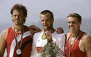 Barcelona Olympics 1992 - Lake Banyoles, SPAIN,  GER  M1X LANGE, Thomas, God medallist, TCH M1X CHALUPA, Vaclav Silver Medallist, POL M1X, BRONIEWSKI, Kajeta, Bronze maedallist, Peter Spurrier/Intersport Images.  Mob +44 7973 819 551/email images@intersport-images.com