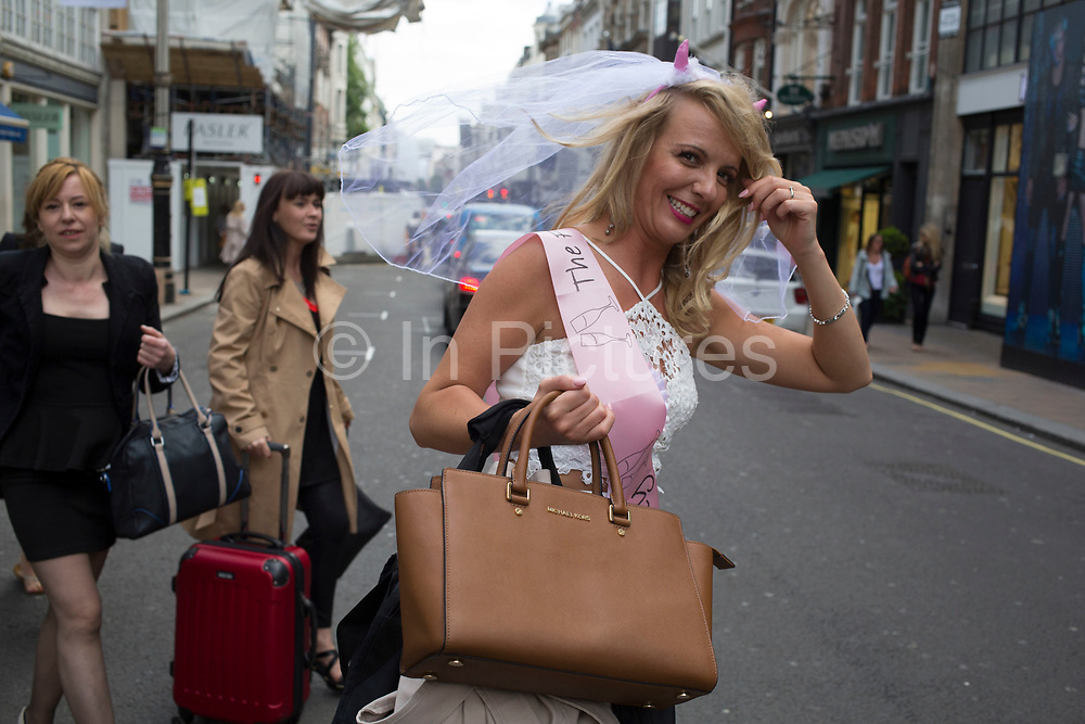 Hen party group gathering on Bond Street in London, United Kingdom. A bachelorette party, hen party, hen night or hen do, is a party held for a woman who is about to get married. The terms hen party, hen do or hen night are common in the UK.