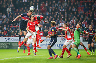 Doncaster Rovers defender Paul Downing (31) heads the ball during the EFL Sky Bet League 1 second leg Play-Off match between Charlton Athletic and Doncaster Rovers at The Valley, London, England on 17 May 2019.