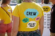 Nederland, Nijmegen, 31-8-2019Aan de overkant van de Waal, op het Lentereiland, wordt het Democratiefestival gehouden. een gratis festival om de democratie te vieren met politiek en maatschappelijke instellingen. Er zijn workshops, discussiebijeenkomsten, spelletjes en theatervoorstellingen.Foto: Flip Franssen