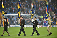 Parade before kick off  during the EFL Sky Bet League 2 match between Portsmouth and Mansfield Town at Fratton Park, Portsmouth, England on 12 November 2016. Photo by Adam Rivers.