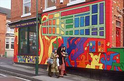 Colourful street mural in Forest Fields; Nottingham,