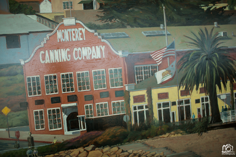 Nick Brown's painting of Cannery Row is displayed during the Levi's Stadium Art Collection grand opening event at Levi's Stadium in Santa Clara, California, on August 1, 2014. (Stan Olszewski/SOSKIphoto for Content Magazine)