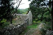 Stone walls and building ruins, Zrnovo, island of Korcula, Croatia