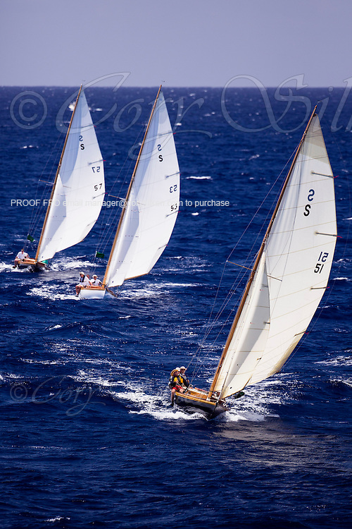 Aquila, Papoose, and Squaw, Herreshoff S Class, sailing in the Antigua Classic Yacht Regatta, Windward Race.