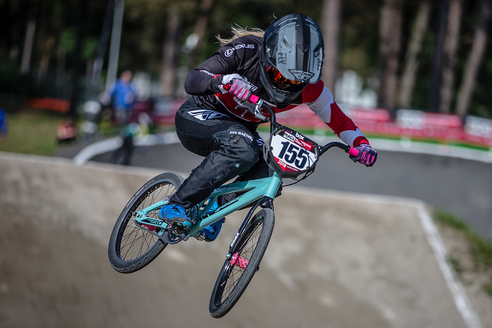 #155 (MECHIELSEN Drew) CAN during practice at Round 5 of the 2018 UCI BMX Superscross World Cup in Zolder, Belgium
