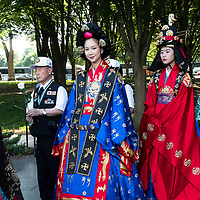 Washington DC…May 2019<br />Veterans and ladies in traditonal Korean 'hanboks' at The Korean War Veterans Memorial.<br />Pictired by Graeme Hart<br />Copyright Perthshire Picture Agency<br />Tel: 01738 623350  Mobile: 07990 594431