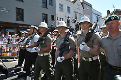 Members of the armed forces before a parade rehearsal in Windsor, Berkshire ahead of the wedding of Prince Harry and Meghan Markle this weekend.