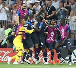 MOSCOW, July 15, 2018  Players of France celebrate Kylian Mbappe's goal during the 2018 FIFA World Cup final match between France and Croatia in Moscow, Russia, July 15, 2018. (Credit Image: © Fei Maohua/Xinhua via ZUMA Wire)
