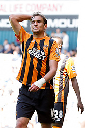 Nikica Jelavic of Hull City looks frustrated after missing from a chance to score - Photo mandatory by-line: Rogan Thomson/JMP - 07966 386802 - 16/05/2015 - SPORT - FOOTBALL - London, England - White Hart Lane - Tottenham Hotspur v Hull City - Barclays Premier League.