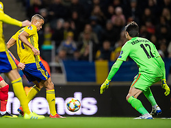 March 23, 2019 - Stockholm, SWEDEN - 190323 Robin Quaison of Sweden scores 1-0 behind goalkeeper Ciprian Tatarusanu of Romania during the UEFA Euro Qualifier football match between Sweden and Romania on March 23, 2019 in Stockholm..Photo: Joel Marklund / BILDBYRÃ…N / kod JM / 87914 (Credit Image: © Joel Marklund/Bildbyran via ZUMA Press)