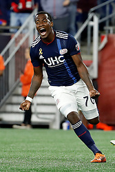 September 22, 2018 - Foxborough, MA, U.S. - FOXBOROUGH, MA - SEPTEMBER 22: New England Revolution forward Cristian Penilla (70) celebrates drawing the match level during a match between the New England Revolution and the Chicago Fire on September 22, 2018, at Gillette Stadium in Foxborough, Massachusetts. The teams played to a 2-2 draw. (Photo by Fred Kfoury III/Icon Sportswire) (Credit Image: © Fred Kfoury Iii/Icon SMI via ZUMA Press)