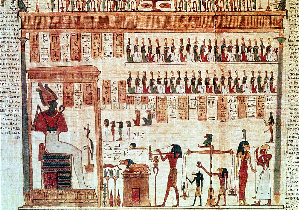 Book of the Dead, Ptolemaic period 332-30 BC: Thoth, Ibis-headed god, secretary to the gods,  weighing heart of deceased (Baboon, his other, manifestation sits, on pillar of balance) before Jackal-headed Anubis, son of Osiris (left), brings soul to his father the judge of the underworld.