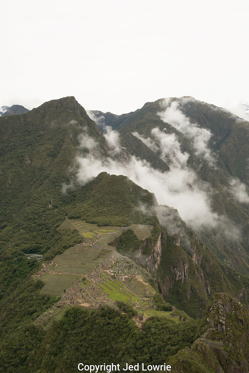 The view from Huayna Picchu is spectacular.  After a difficult hike with many steps requiring a rope to assist, the reward is well worth the effort.