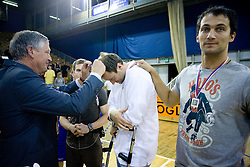 Andrej Osterc and Domen Zerak and Zeljko Zagorac of Helios with medals for second place at third finals basketball match of Slovenian Men UPC League between KK Union Olimpija and KK Helios Domzale, on June 2, 2009, in Arena Tivoli, Ljubljana, Slovenia. Union Olimpija won 69:58 and became Slovenian National Champion for the season 2008/2009. (Photo by Vid Ponikvar / Sportida)