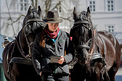 20.03.2014, Salzburg, AUT, Stadtansicht Salzburg, im Bild Eine Kutscherin wartet mit ihrem Pferdegespann vor dem Fiaker auf Touristen, liest, ihrem ebook // Cityscape of Salzburg, Austria on 2014/03/20. EXPA Pictures © 2014, PhotoCredit: EXPA/ Freshfocus/ Andy Mueller<br /> <br /> *****ATTENTION - for AUT, SLO, CRO, SRB, BIH, MAZ only*****
