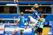Birmingham City defender Cecilie Sandvej (2) heads the ball during the FA Women's Super League match between Birmingham City Women and Brighton and Hove Albion Women at St Andrews, Birmingham United Kingdom on 12 September 2021.