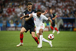July 11, 2018 - Moscow, Vazio, Russia - Sime VRSALJKO of Croatia and Raheem STERLING of England during England-Croatia match valid for the semi-final of the 2018 World Cup, held at the Lujniki Stadium in Moscow, Russia. Croatia wins 2-1. (Credit Image: © Thiago Bernardes/Pacific Press via ZUMA Wire)