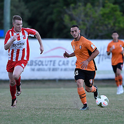 BRISBANE, AUSTRALIA - FEBRUARY 25: Nicholas Panetta passes the ball during the NPL Queensland Senior Men's Round 1 match between Olympic FC and Brisbane Roar Youth at Goodwin Park on February 25, 2017 in Brisbane, Australia. (Photo by Patrick Kearney/Olympic FC)