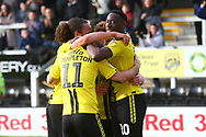Burton Albion forward Lucas Akins (10) scores a penalty 3-3 during the EFL Sky Bet League 1 match between Burton Albion and Accrington Stanley at the Pirelli Stadium, Burton upon Trent, England on 23 March 2019.