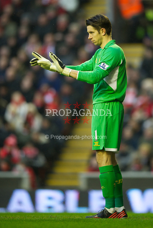 LIVERPOOL, ENGLAND - Saturday, January 19, 2013: Liverpool's goalkeeper Brad Jones in action against Norwich City during the Premiership match at Anfield. (Pic by David Rawcliffe/Propaganda)