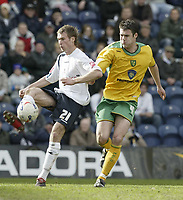 Photo: Aidan Ellis.<br /> Preston North End v Norwich City. Coca Cola Championship. 08/04/2006.<br /> Preston's David Hibbert and Norwich's Jason Shackell