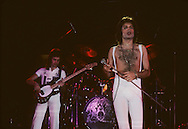 LOS ANGELES, CA - FEBRUARY 25: John Deacon and Freddie Mercury of Queen in concert at The Forum on February 25, 1977 in Los Angeles, California.