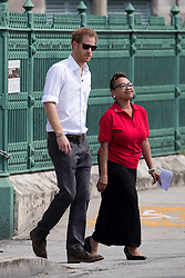 Prince Harry and pop superstar Rihanna undergo aids tests to highlight World Aids Day. The pair, who were both seen wiping their foreheads, took the tests in sweltering conditions in Bridgetown on the island of Barbados as his tour of the Commonwealth island comes to a close. Both Rihanna and the prince tested negative after waiting 20 minutes at the HIV drop-in center which caters to men.<br /> 01 Dec 2016<br /> Pictured: Prince Harry, Rihanna.<br /> Photo credit: MEGA<br /> <br /> TheMegaAgency.com<br /> +1 888 505 6342