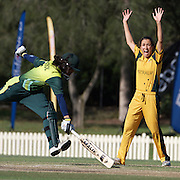 Sarah Andrews celebrates as Fatima Batool is run out  during the match between Australia and Pakistan in the Super 6 stage of the ICC Women's World Cup Cricket tournament at Bankstown Oval, Sydney, Australia on March 16 2009, Australia won the match by 107 runs. Photo Tim Clayton