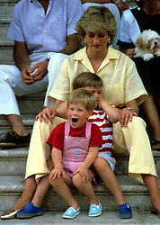 Princess Diana, Princess of Wales with Prince William and Prince Harry on holiday in Majorca, Spain on August 10, 1987. Also present were the Spanish Royal Family and Prince Charles, Prince of Wales.