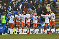Blackpool Players Celebrate after Blackpool Defender, Clark Robertson (5) scores a goal to make it 0-2 during the EFL Sky Bet League 1 match between Portsmouth and Blackpool at Fratton Park, Portsmouth, England on 24 February 2018. Picture by Adam Rivers.