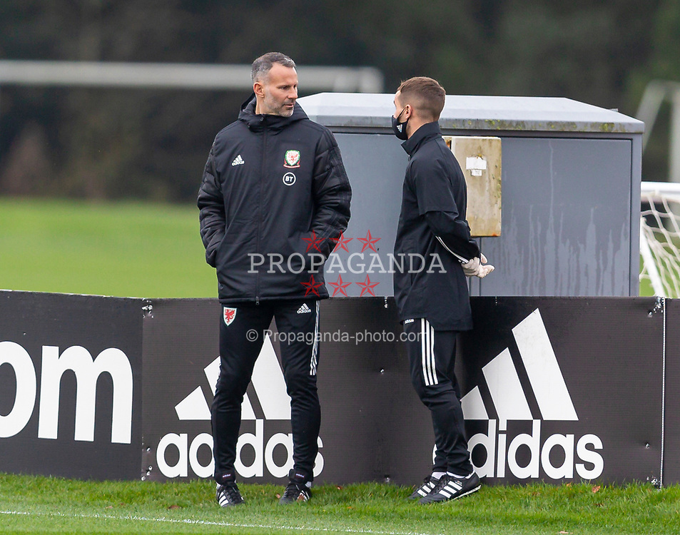 CARDIFF, WALES - Monday, October 5, 2020: Wales' manager Ryan Giggs (L) and masseur Chris Senior (R) during a training session at the Vale Resort ahead of the International Friendly match against England. (Pic by David Rawcliffe/Propaganda)
