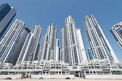 High-rise modern apartment buildings at Business Bay in Dubai United Arab Emirates