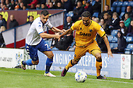 Jerome Thomas of Port Vale is held back by Zeli Ismail of Bury. EFL Skybet football league one match, Bury v Port Vale at Gigg Lane in Bury ,Lancs on Saturday 3rd September 2016.<br /> pic by Chris Stading, Andrew Orchard sports photography.