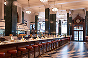 The Ned hotel on the 4th October 2019 in London in the United Kingdom. The Ned is a luxury hotel and members club in the City of London. The location is set in a former bank head quarters designed in 1924 by Sir Edwyn Lutyens.