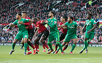 Football - 2018 / 2019 Premier League - Manchester United vs. Watford<br /> <br /> Watford players press the United defence from a corner as they chase a late equaliser, at Old Trafford.<br /> <br /> COLORSPORT/ALAN MARTIN