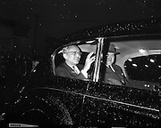 Acting Secretary-General of the U.N., U. Thant, smiles as he waves to the crowds who waited in the rain to greet him on arrival at Dublin Airport.<br /> 13.07.1962