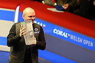 Stuart Bingham of England celebrates as he lifts the new Ray Reardon trophy after winning the match. Coral Welsh Open Snooker 2017, final match, Judd Trump of England v Stuart Bingham of England at the Motorpoint Arena in Cardiff, South Wales on Sunday 19th February 2017.<br /> pic by Andrew Orchard, Andrew Orchard sports photography.