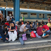 Illegal migrants sit on the platform as they wait to board a train in hopes to leave for Germany at the main railway station Keleti in Budapest, Hungary on September 03, 2015. ATTILA VOLGYI