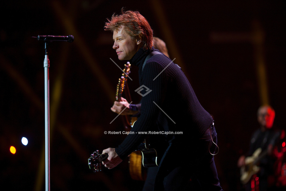 Jon Bon Jovi at the 12-12-12 fundraising concert to aid the victims of Hurricane Sandy, will take place on December 12, 2012 at Madison Square Garden. The concert featured The Rolling Stones, Bon Jovi, Eric Clapton, Dave Grohl, Billy Joel, Alicia Keys, Chris Martin, Bruce Springsteen & the E Street Band, Eddie Vedder, Roger Waters, Kanye West, The Who, and Paul McCartney. All the proceeds went go to the Robin Hood Relief Fund. Robin Hood, the largest independent poverty fighting organization in the New York area, will insure that every cent raised will go to non-profit groups that are helping the tens of thousands.of people throughout the tri-state area who have been affected by Hurricane Sandy...Photo © Robert Caplin..