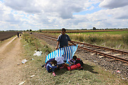 Migrants are seen close to the Hungarian and Serbian border town of Roszke, Hungary, September 7 2015. The UN's humanitarian agencies are on the verge of bankruptcy and unable to meet the basic needs of millions of people because of the size of the refugee crisis in the Middle East, Africa and Europe, senior figures within the UN have told the media.