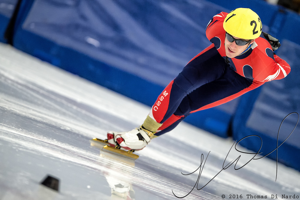 March 20, 2016 - Verona, WI - Isaiah Janisch, skater number 221 competes in US Speedskating Short Track Age Group Nationals and AmCup Final held at the Verona Ice Arena.