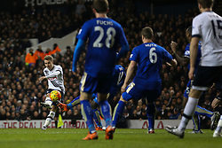 Kasper Schmeichel of Leicester City saves a shot from Christian Eriksen of Tottenham Hotspur - Mandatory byline: Jason Brown/JMP - 07966386802 - 13/01/2016 - FOOTBALL - White Hart Lane - London, England - Tottenham v Leicester City - Barclays Premier League