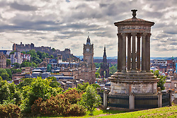 Dougald Stewart Monument and Edinburgh skyline, Scotland, Edinburgh, UK