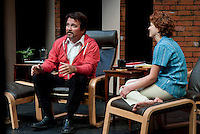 """Jim Rogato as Nick/Fireman talks about his fellow firefighters lost on 9/11 with Katie Dunn as Joan/the Editor during the dress rehearsal of """"The Guys"""" at the Winnipesaukee Playhouse on Wednesday evening.  (Karen Bobotas/for the Laconia Daily Sun)"""