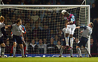 Photo: Scott Heavey.<br />West Ham V Crewe. Nationwide First Division. 17/03/2004.<br />Marlon Harewood heads in the opener