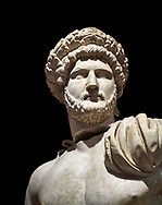 Roman statue of Emperor Hadrian .Marble. Perge. 2nd century AD. Inv no 3861-3863 .Antalya Archaeology Museum; Turkey. Against a black background. .<br /> <br /> If you prefer to buy from our ALAMY STOCK LIBRARY page at https://www.alamy.com/portfolio/paul-williams-funkystock/greco-roman-sculptures.html . Type -    Antalya     - into LOWER SEARCH WITHIN GALLERY box - Refine search by adding a subject, place, background colour, museum etc.<br /> <br /> Visit our ROMAN WORLD PHOTO COLLECTIONS for more photos to download or buy as wall art prints https://funkystock.photoshelter.com/gallery-collection/The-Romans-Art-Artefacts-Antiquities-Historic-Sites-Pictures-Images/C0000r2uLJJo9_s0