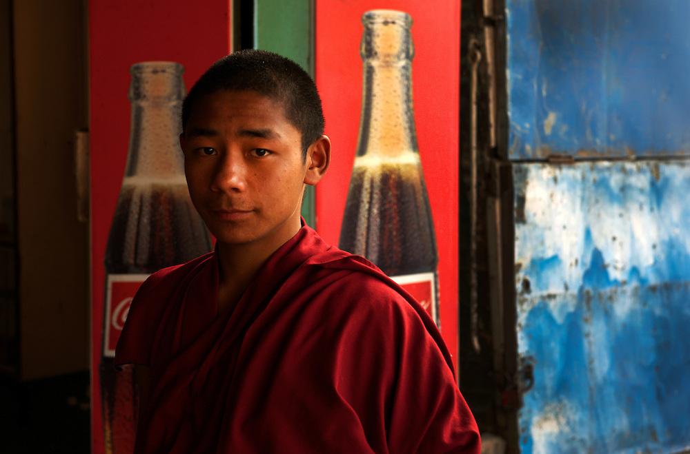 Pilgrim monk visits a cafe, Bodh Gaya, Bihar