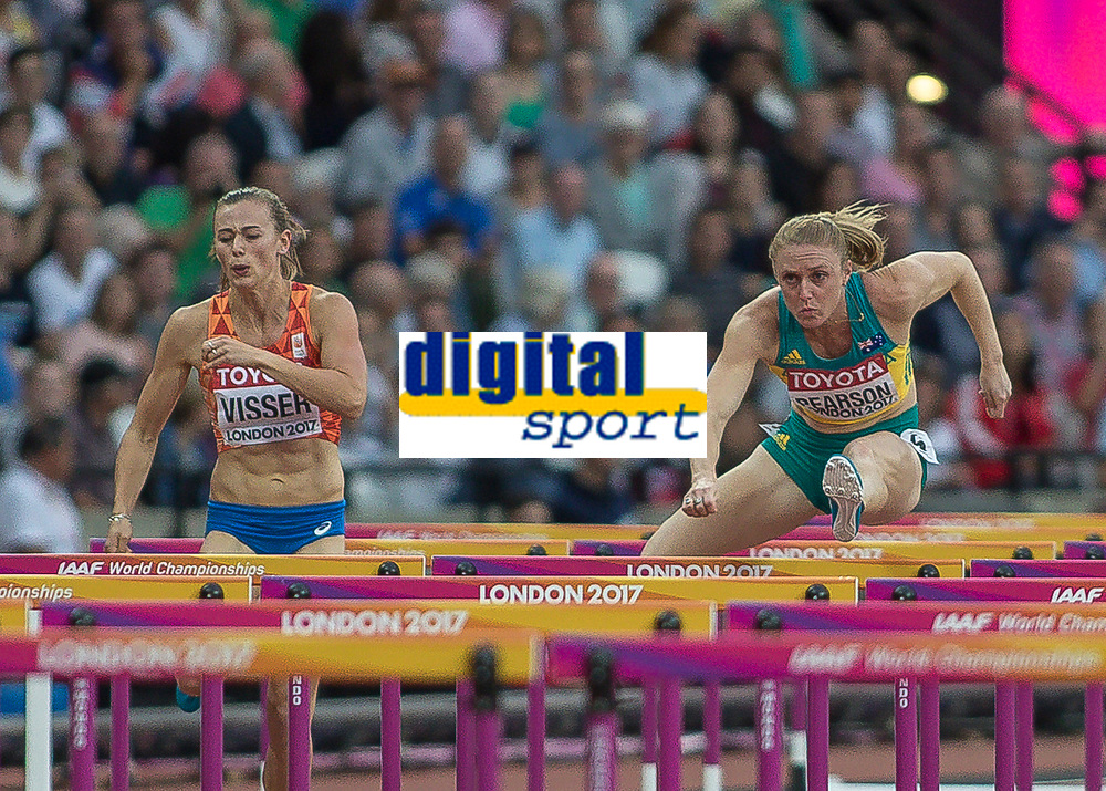 Athletics - 2017 IAAF London World Athletics Championships - Day Eight, Evening Session<br /> <br /> Womens 100m Hurdles Semi final<br /> <br /> Sally Pearson (Australia) rises over the hurdles at the London Stadium<br /> <br /> COLORSPORT/DANIEL BEARHAM